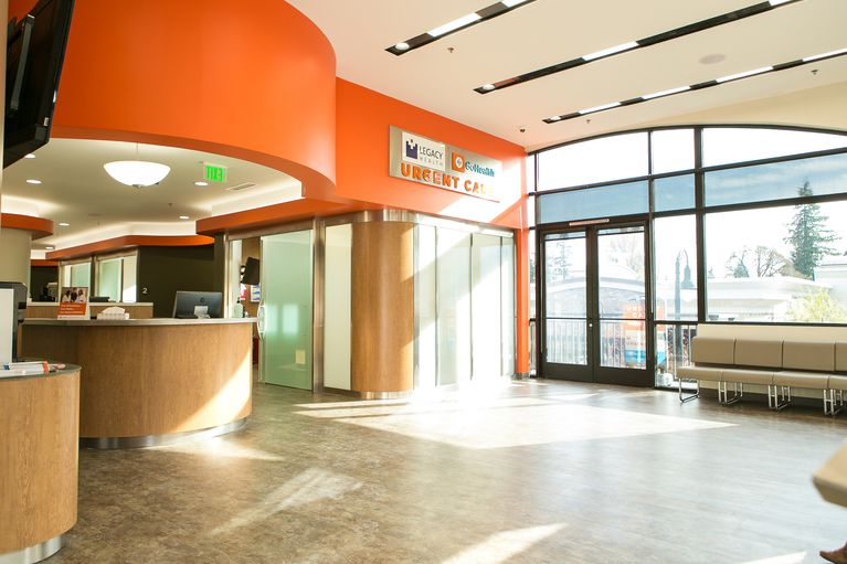 A brightly lit healthcare clinic lobby.