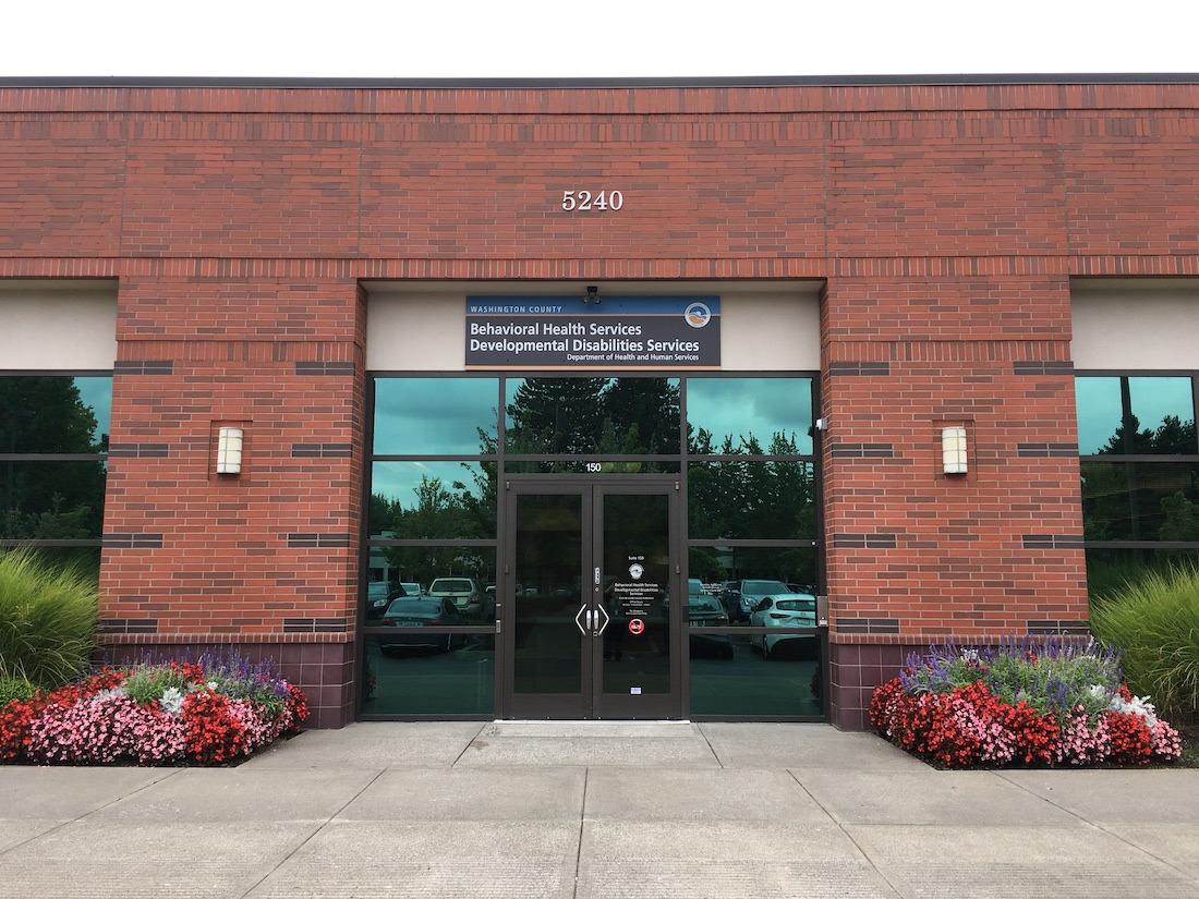 The front of a brick building housing Washington County's Behavioral Health Services