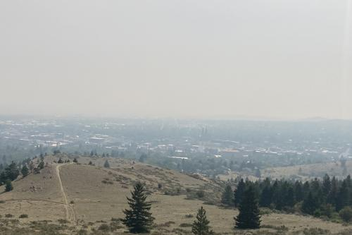 Photo of smoke above small town in Montana.