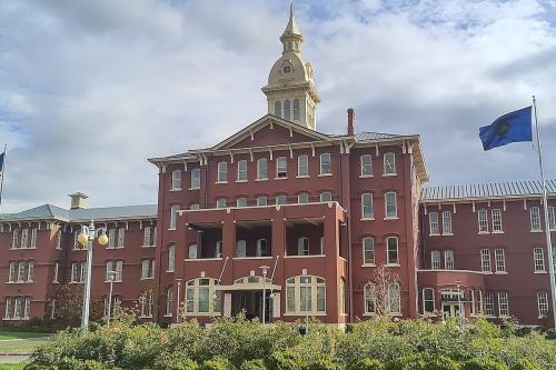 Large red building, the Oregon State Hospital